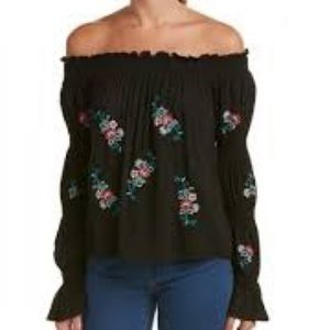 Flying Tomato Boho Embroidered Black Shirt